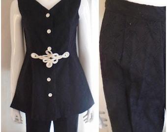 1960s Vintage Mod Pant Suit Tunic Top Flare Leg Pants Black Brocade Small