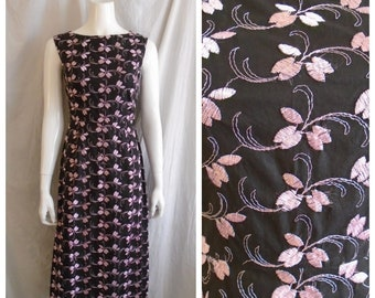 a329c0e1412 Vintage 1960s Dress Black and Pink Embroidered Cotton Long Sleeveless Wiggle  Dress Small 36 x 26 x 38