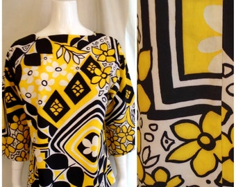 Vintage 1960s Blouse or Micro Mini Dress Bold Print Yellow Black White Mod