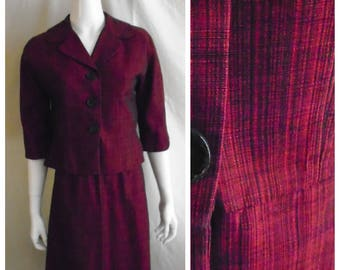 Vintage 1950s Suit Red and Black Streaked Silk A-line Skirt Medium