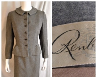 Vintage 1950s Suit Grey Heathered Wool Dressmaker Fitted Pencil Small