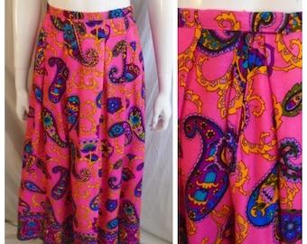 Vintage 1960s Skirt Paisley Neon Print Long Maxi Skirt Medium 28 Waist