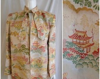 Vintage 1940s Jacket Asian Brocade Multi Color Jacket Shoulder Pads Large