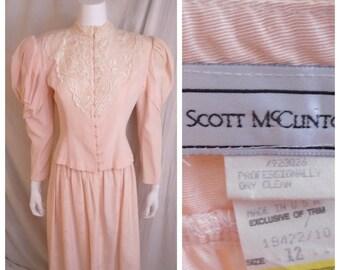 Vintage 1980s Dress Edwardian Style Pink Leg o Mutton Sleeves Lace High Neck Scott McClintock Medium