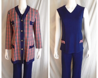 Vintage 1960s Suit Three Piece Wardrobe Long Jacket Shell Top and Pants Red White and Blue Small