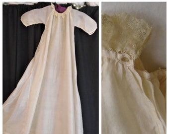 Vintage 1900s Baby Dress Victorian Christening Dress Cream Silk with Lace