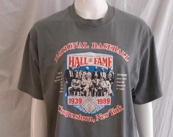 Vintage 1980s T Shirt Baseball Hall of Fame 50 Year Commemorative Shirt 1939-1989 Large