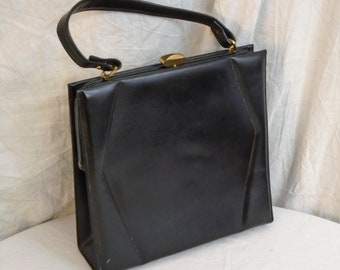 ea939528a9fe Vintage 1950s Purse Black Leather Large Sculptural Kelly Bag Top Handle