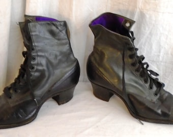 c80a8cd1ac Vintage 1910s Shoes Edwardian Black Leather Lace Up High Top Boots Wing Tip