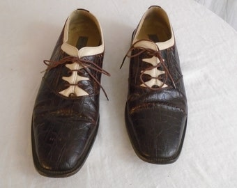 Vintage 1990s Mens Shoes Wing Tips Faux Alligator Brown with White Inserts Two Tone Rockabilly Style Size 11.5