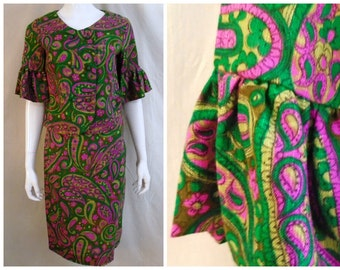 Vintage 1960's Dress 2 Piece  Mod Paisley Skirt and Jacket Bell Sleeves Deadstock NWT