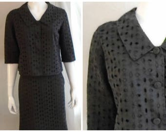 Vintage 1960s Spring Suit Black Cotton Eyelet Short Skirt Forever Young 39 x 30 x 39