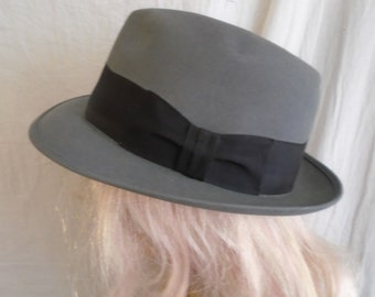 06d6ccca Vintage 1950s Hat Grey Mans Fedora Stetson Royal Stetson Size 7 three  eighths