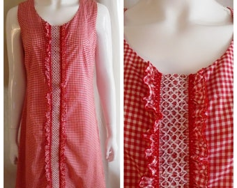 85c5f48100c Vintage 1960s Dress Gingham Red and White Scooter Dress Medium 39 x 35 x 41
