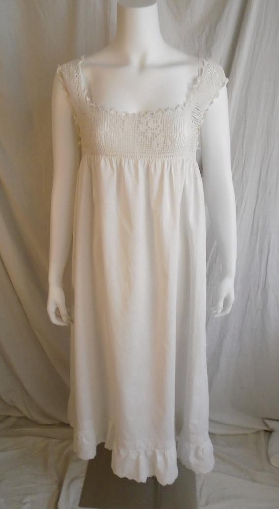 Vintage 1910s Nightgown Antique White Cotton Nigh… - image 4