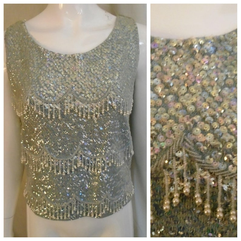 c62a78fd92c08 Vintage 1960s Tank Top Ice Blue Fully Sequined Shell Top