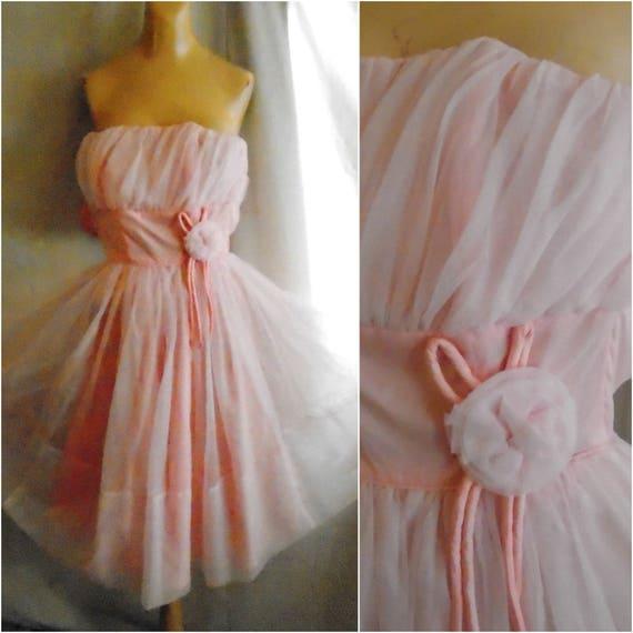 Vintage 1950s Prom Dress Circle Skirt Strapless Pi