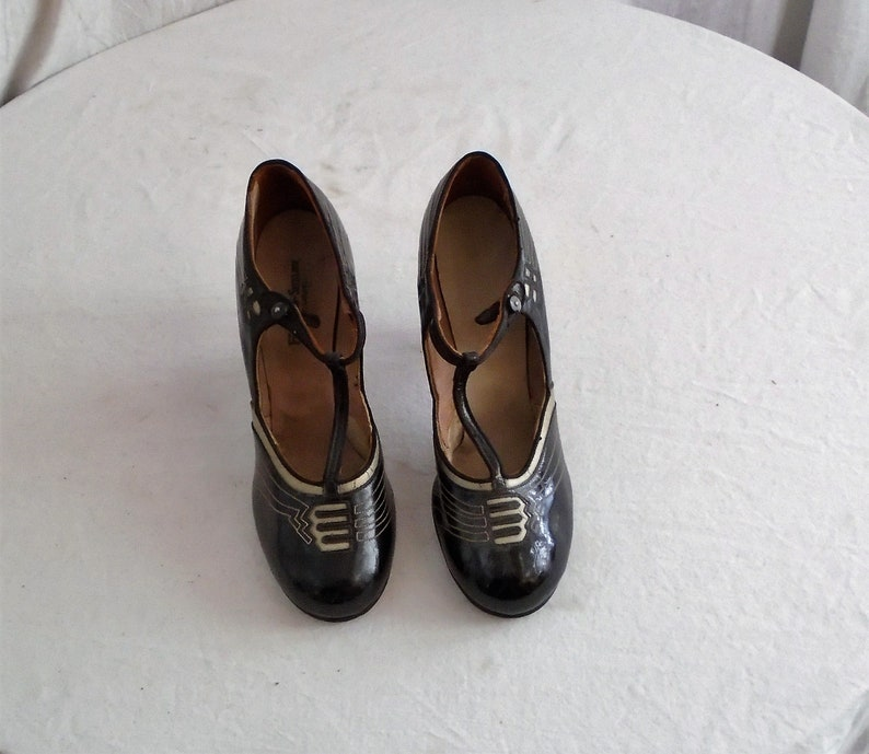 Vintage 1920s Pumps Black and Gold Art Deco Leather Mary Janes Size 5