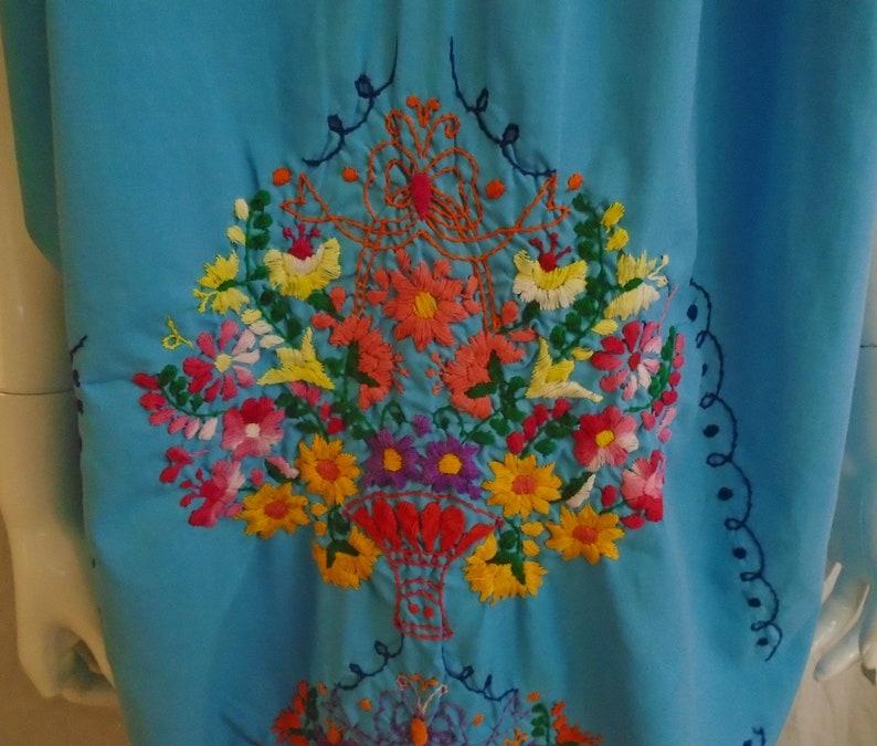 Vintage 1970s Dress BlueMulti Color Embroidered Caftan Loose Fitting Summer Dress Large
