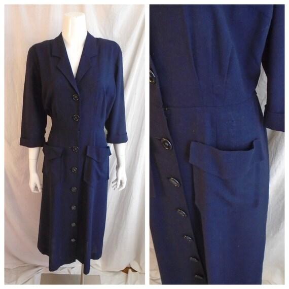 Vintage 1940s Dress Blue Rayon Day Dress Large Poc