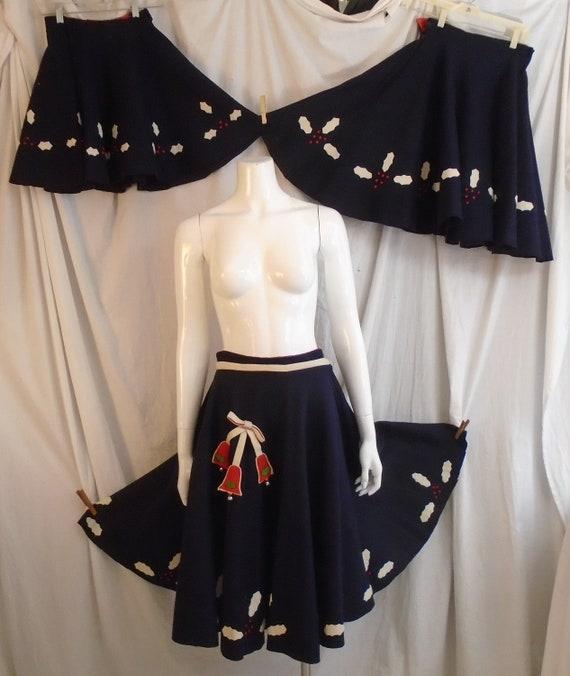 Vintage 1950s Circle Skirt Blue Felt with Holly an