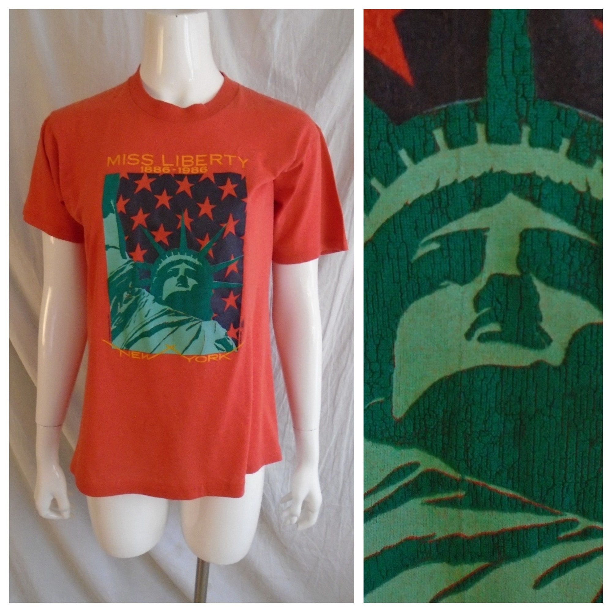 80s Tops, Shirts, T-shirts, Blouse   90s T-shirts Vintage 1980S T Shirt 100Th Anniversary Of Statue Liberty 1886-1986 Unisex Mans Small Womens Large $28.00 AT vintagedancer.com