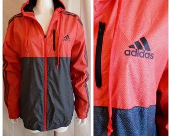 Vintage 1990s Adidas Windbreaker Warm Up Jacket Red and Black Large