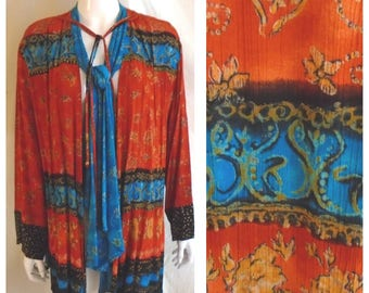1980s Vintage Carole Little Mixed Print Long Tunic Jacket Bead Detail Red/Blue Multi XL
