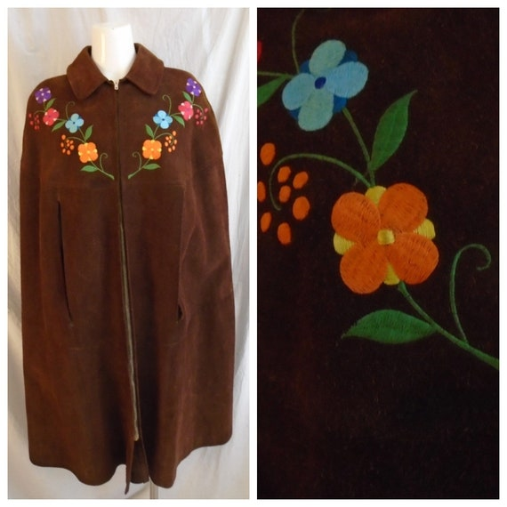 Vintage 1960s Cape Long Suede Cape Boho Embroidere