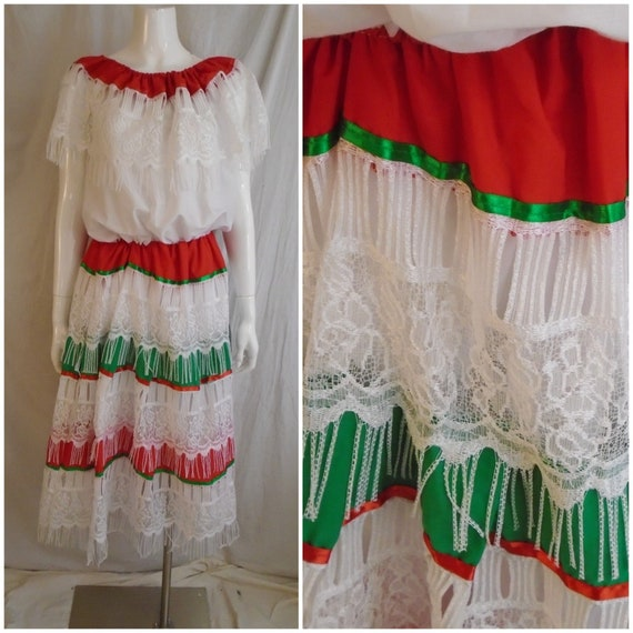 Vintage 1970s Dress Boho Peasant Dress White Red a