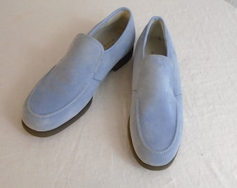 Vintage 1980s Hush Puppies Mens Loafers Blue Suede Shoes Size 10
