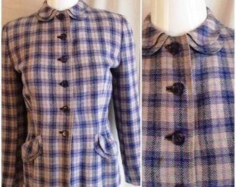 Vintage 1940s Plaid Wool Suit Jacket Blue and Grey Tailored Jacket Medium 38 Bust