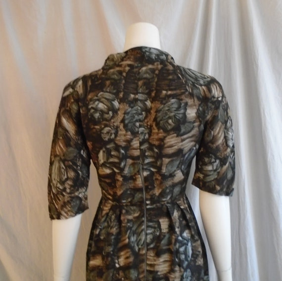 Vintage 1950s Dress Charcoal and Brown Rose Print… - image 3