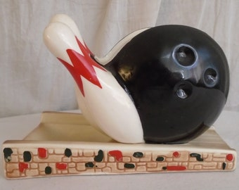 Vintage 1950s Bowling Ceramic Knicknack by Ruebens Ashtray MCM Collectible