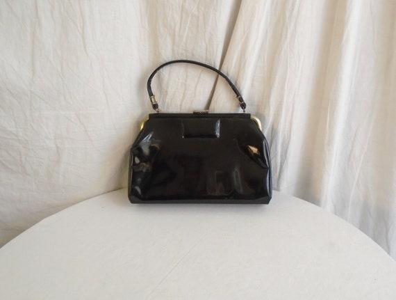 Vintage 1960s Purse Black Patent Upright Kelly Ba… - image 1