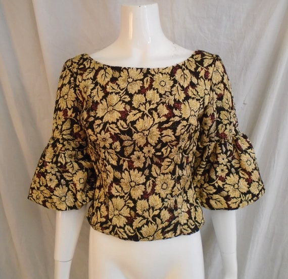 Vintage 1960s Top Gold and Black Brocade Mod Top w