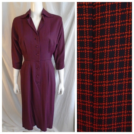 Vintage 1950s Dress Navy and Red Check Rayon Day D