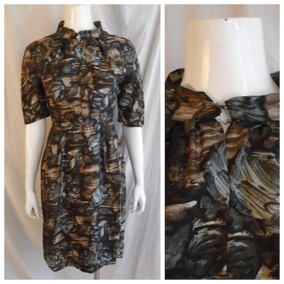 Vintage 1950s Dress Charcoal and Brown Rose Print… - image 1