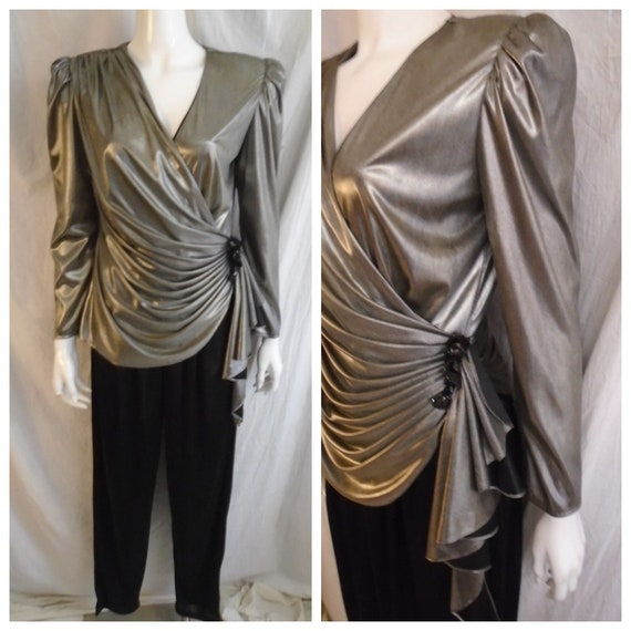Vintage 1980s Jumpsuit Silver Metallic and Black S