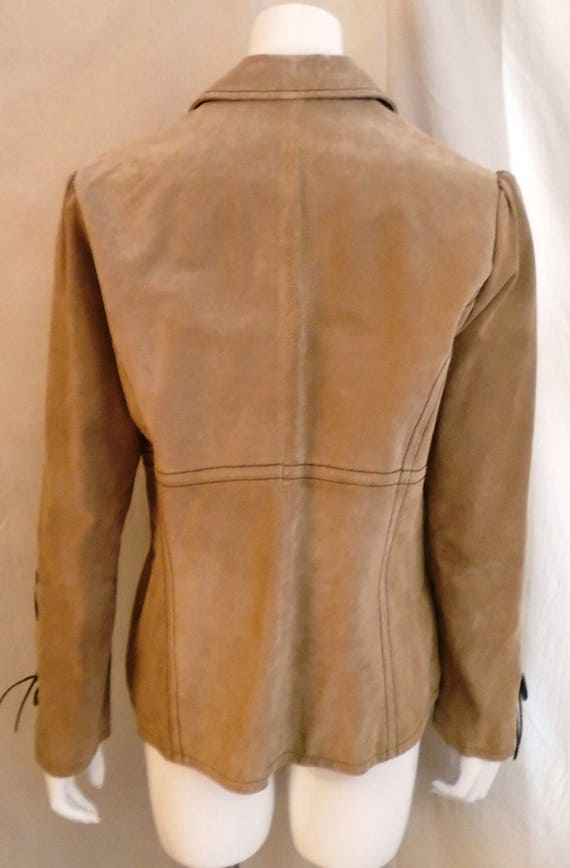 Vintage 1990s Suede Jacket Lacing Sleeves Puffed … - image 5
