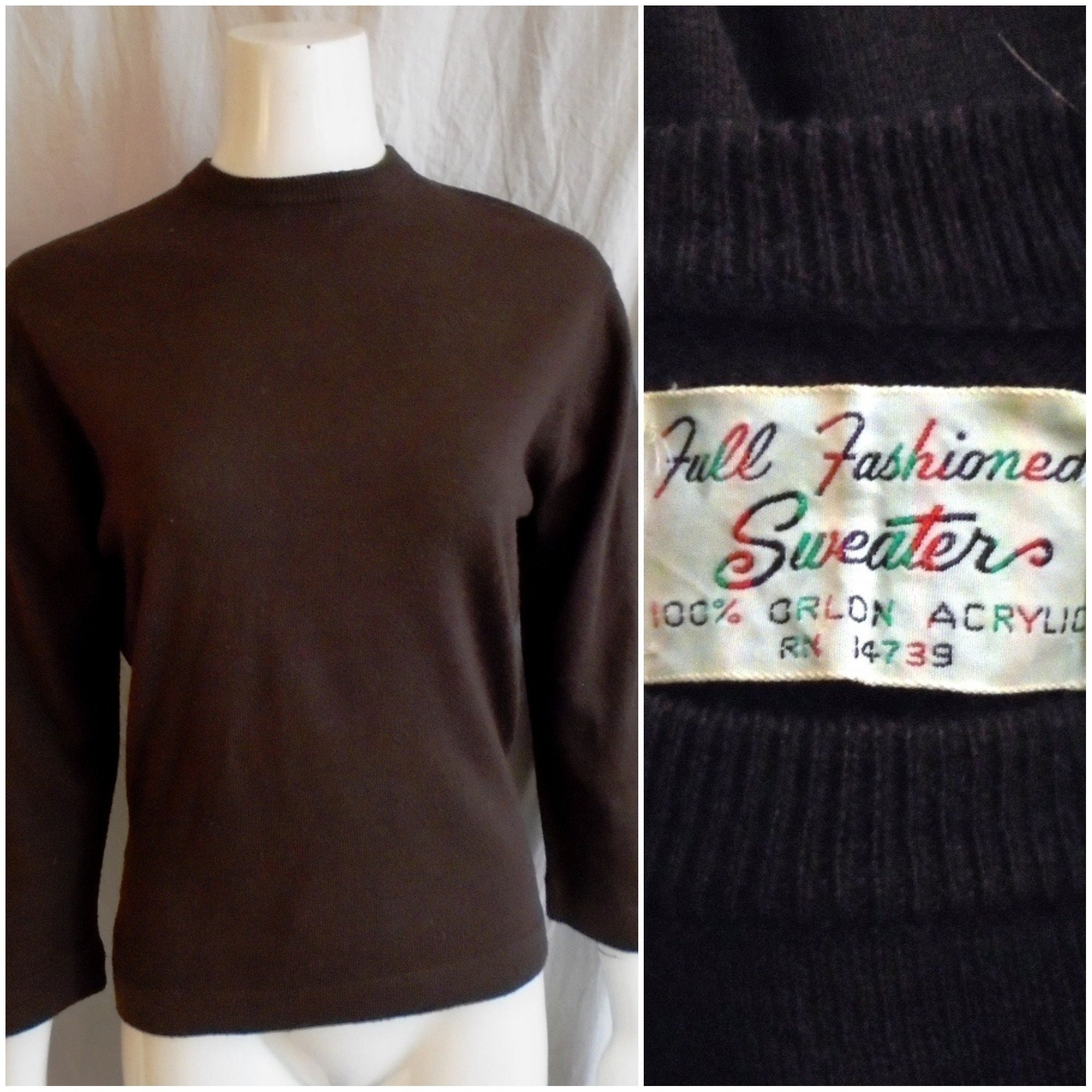 Vintage 1960s Sweater Dark Brown Acrylic Pullover Back Zip L/XL