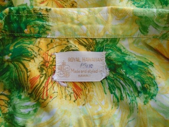 Vintage 1960s Hawaiian Shirt Cotton Floral Print … - image 7