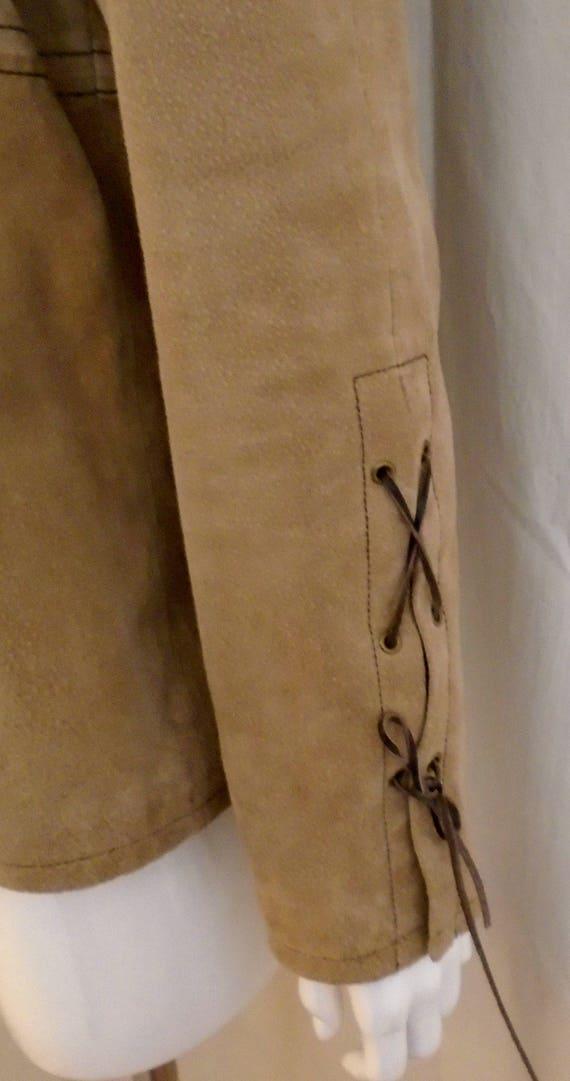 Vintage 1990s Suede Jacket Lacing Sleeves Puffed … - image 4