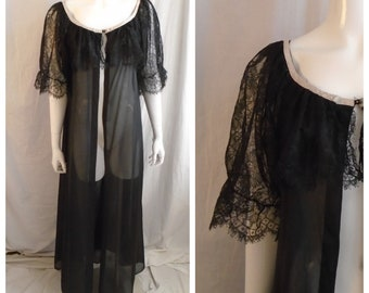 Vintage 1960s Negligee Black Full Sweep Sheer Nylon Robe Lace Sleeves and Collar  Medium
