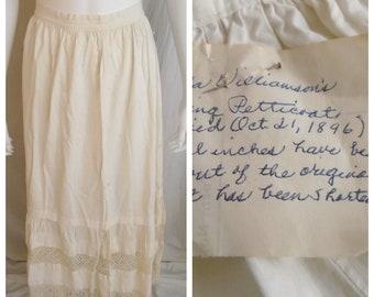 Vintage 1890s Petticoat White Cotton Crochet Lace with Provenance 1896
