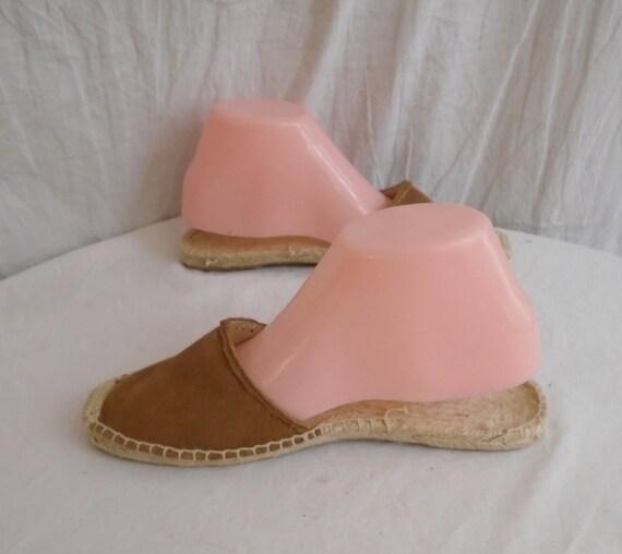 Vintage 1990s Shoes Brown Suede Mules Women's Sum… - image 4