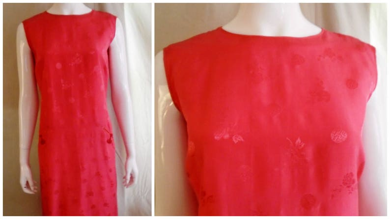 b014e0976a5 Vintage 1960s Dress Vivid Pink Silk Wiggle Dress Watermelon