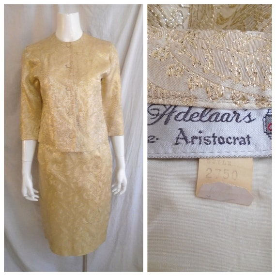 Vintage 1960s Suit Gold Brocade Cocktail Suit Rayo