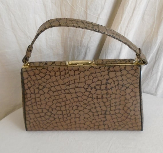 Vintage 1960s Faux Alligator Purse Brown and Blac… - image 3