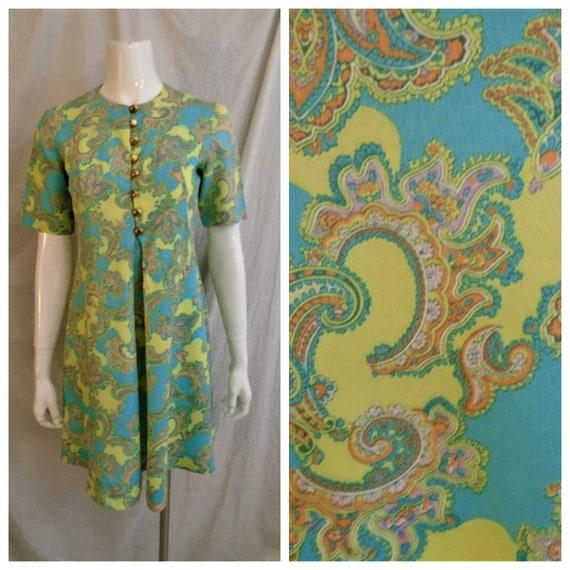 Vintage 1960s Dress Mod Paisley Print Mini Turquoi